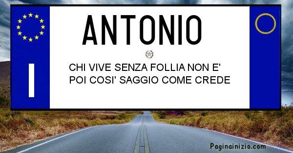 Antonio - Targa personalizzata del Nome Antonio