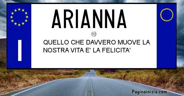 Arianna - Targa personalizzata del Nome Arianna