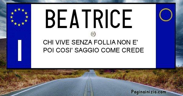 Beatrice - Targa personalizzata del Nome Beatrice