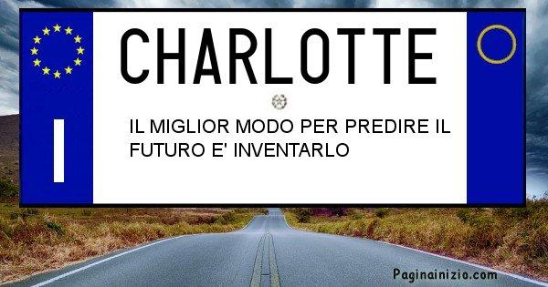 Charlotte - Targa personalizzata del Nome Charlotte