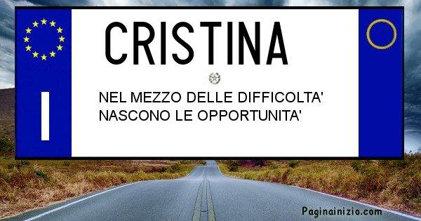 Cristina - Targa personalizzata del Nome Cristina