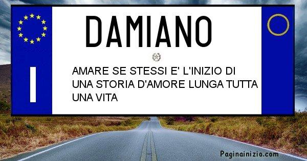 Damiano - Targa personalizzata del Nome Damiano