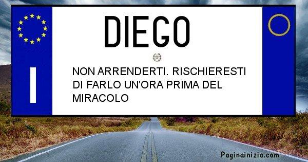 Diego - Targa personalizzata del Nome Diego