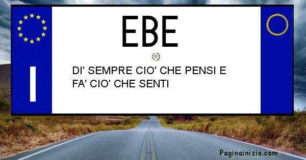 Ebe - Targa personalizzata del Nome Ebe