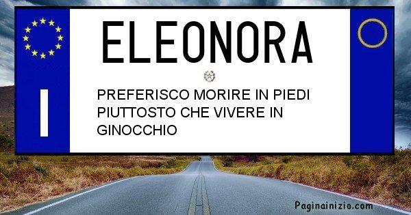Eleonora - Targa personalizzata del Nome Eleonora
