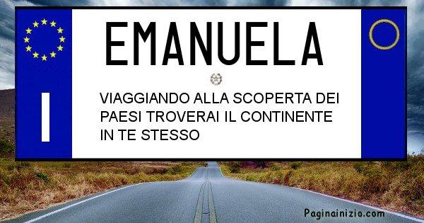 Emanuela - Targa personalizzata del Nome Emanuela