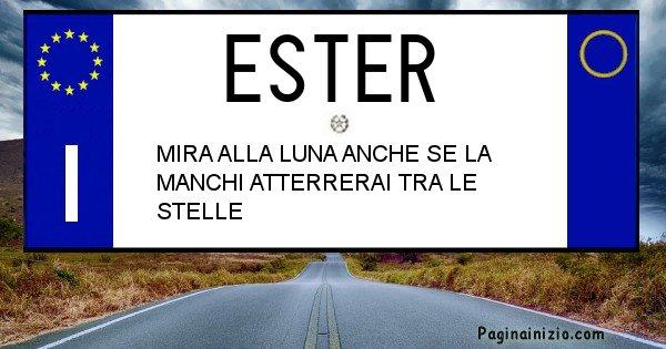 Ester - Targa personalizzata del Nome Ester