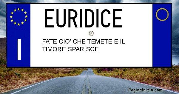Euridice - Targa personalizzata del Nome Euridice