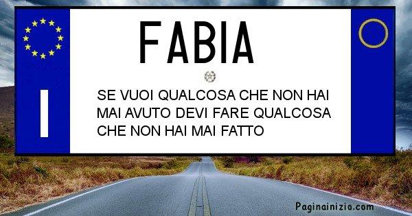 Fabia - Targa personalizzata del Nome Fabia