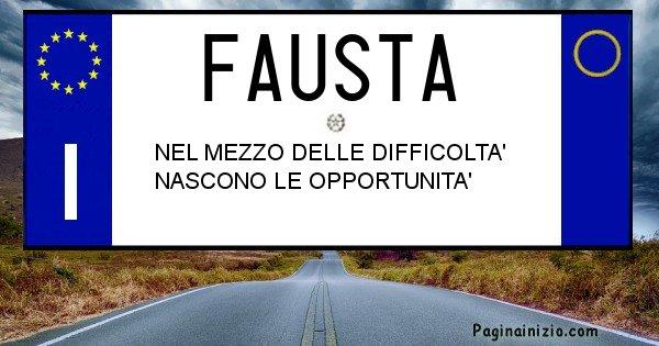 Fausta - Targa personalizzata del Nome Fausta