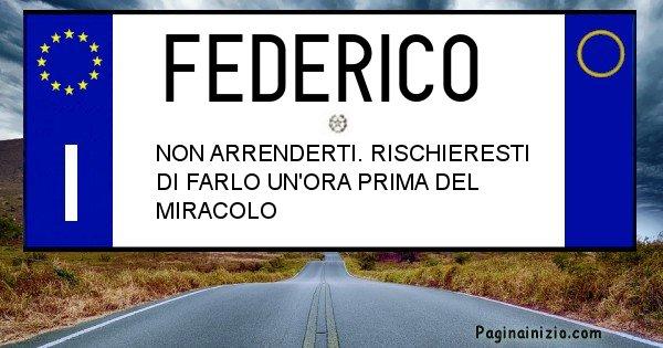 Federico - Targa personalizzata del Nome Federico