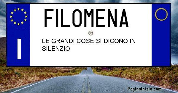 Filomena - Targa personalizzata del Nome Filomena