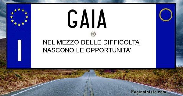 Gaia - Targa personalizzata del Nome Gaia