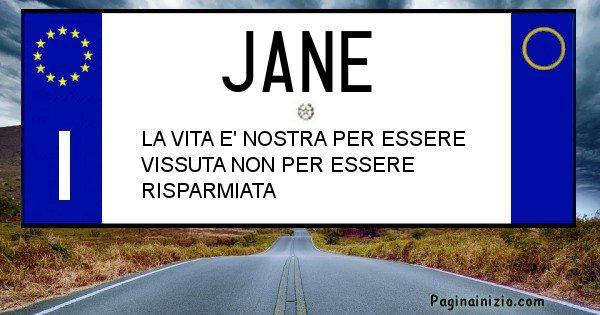 Jane - Targa personalizzata del Nome Jane