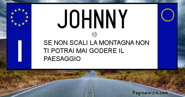 Johnny - Targa personalizzata del Nome Johnny