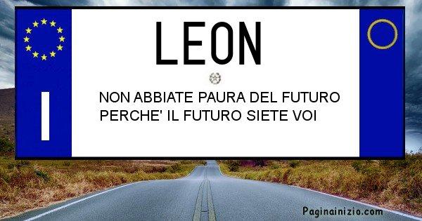 Leon - Targa personalizzata del Nome Leon