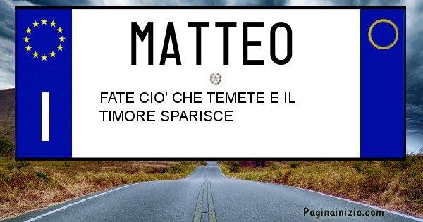Matteo - Targa personalizzata del Nome Matteo