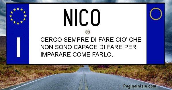 Nico - Targa personalizzata del Nome Nico