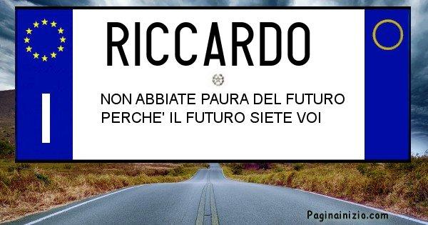 Riccardo - Targa personalizzata del Nome Riccardo