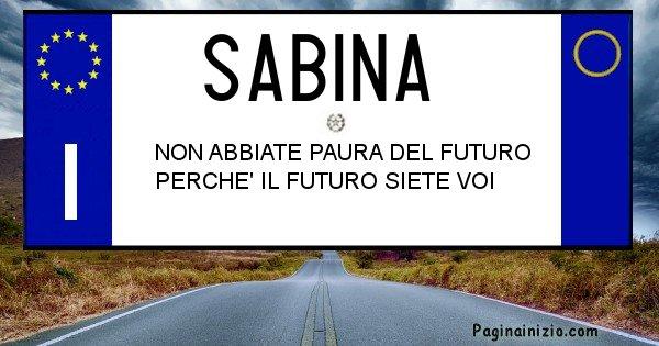Sabina - Targa personalizzata del Nome Sabina