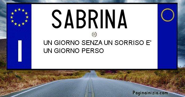 Sabrina - Targa personalizzata del Nome Sabrina