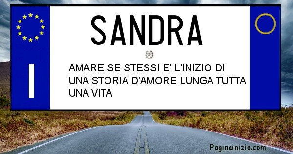 Sandra - Targa personalizzata del Nome Sandra