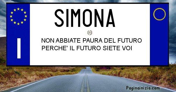 Simona - Targa personalizzata del Nome Simona