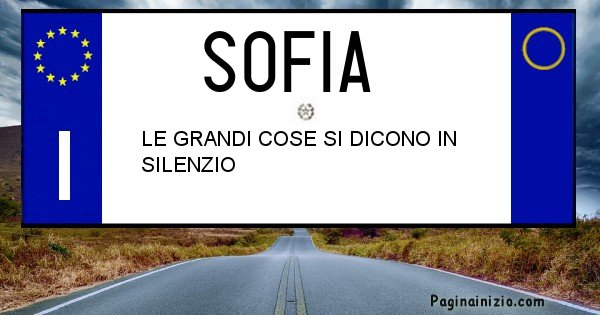 Sofia - Targa personalizzata del Nome Sofia
