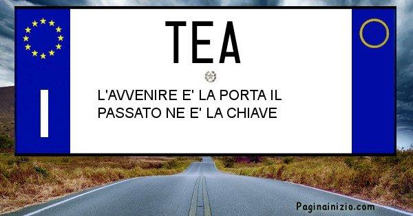 Tea - Targa personalizzata del Nome Tea