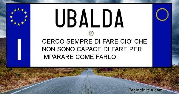 Ubalda - Targa personalizzata del Nome Ubalda