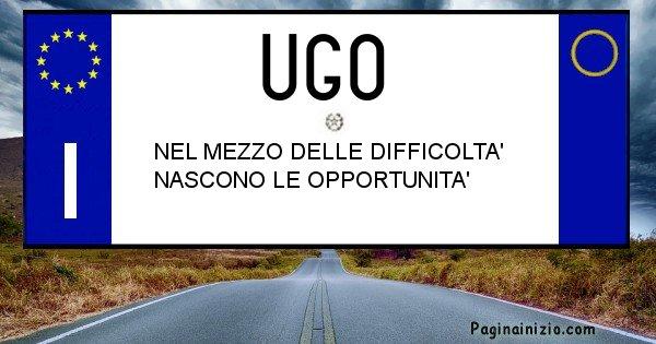 Ugo - Targa personalizzata del Nome Ugo