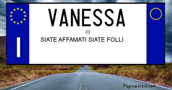Vanessa - Targa personalizzata del Nome Vanessa