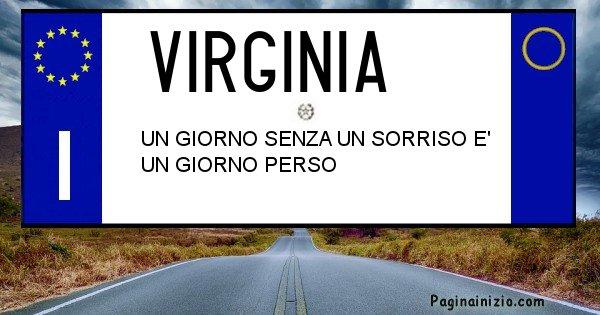 Virginia - Targa personalizzata del Nome Virginia