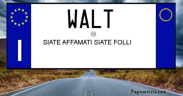 Walt - Targa personalizzata del Nome Walt