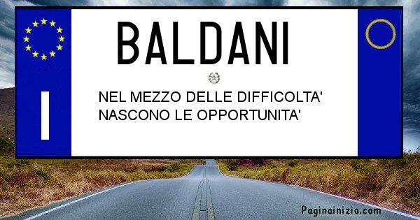 Baldani - Targa personalizzata sul Cognome Baldani