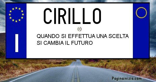 Cirillo - Targa personalizzata sul Cognome Cirillo