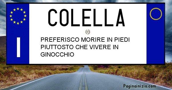 Colella - Targa personalizzata sul Cognome Colella