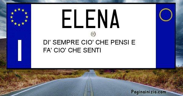 Elena - Targa personalizzata sul Cognome Elena