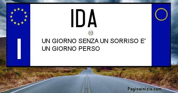 Ida - Targa personalizzata sul Cognome Ida