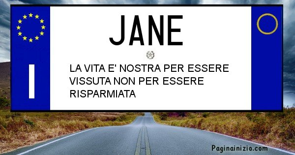 Jane - Targa personalizzata sul Cognome Jane