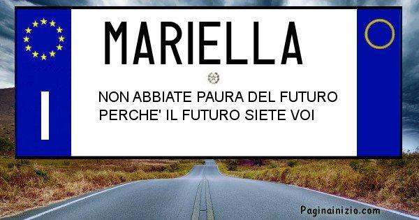 Mariella - Targa personalizzata sul Cognome Mariella
