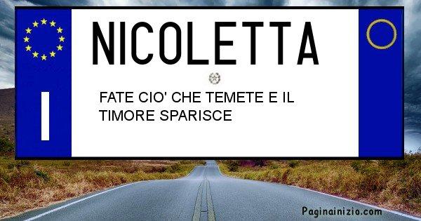 Nicoletta - Targa personalizzata sul Cognome Nicoletta