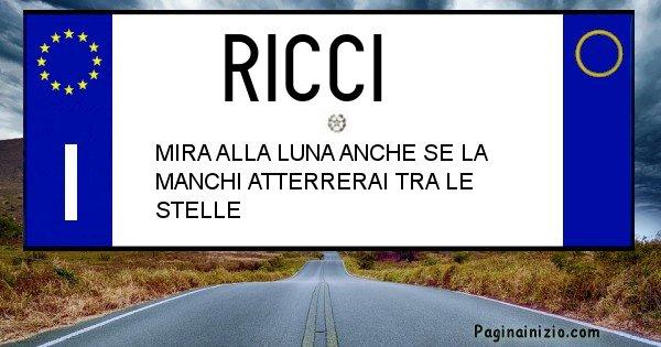 Ricci - Targa personalizzata sul Cognome Ricci