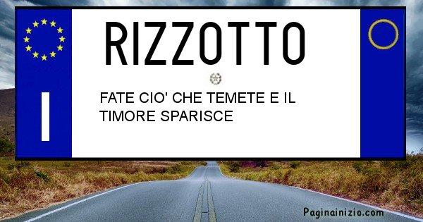 Rizzotto - Targa personalizzata sul Cognome Rizzotto