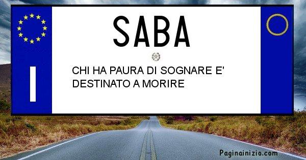 Saba - Targa personalizzata sul Cognome Saba