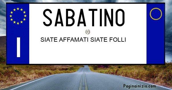Sabatino - Targa personalizzata sul Cognome Sabatino