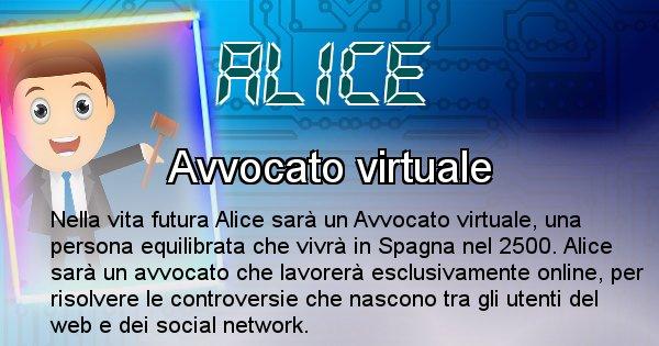 Alice - Scopri chi sarai nella prossima vita analizzando il Cognome Alice