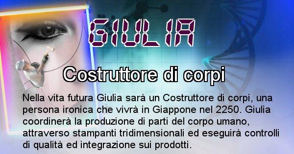 Giulia - Scopri chi sarai nella prossima vita analizzando il Cognome Giulia