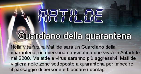 Matilde - Scopri chi sarai nella prossima vita analizzando il Cognome Matilde