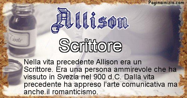Allison - Chi era nella vita precedente Allison
